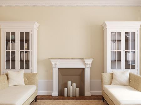cổ điển: Hiện đại phòng khách nội thất với lò sưởi. 3d render.