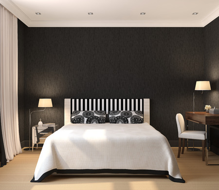 Modern interior of bedroom. 3D render. Exclusive design.