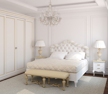 interior bedroom: Classical white bedroom interior. 3d render.