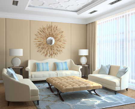 light interior: Modern living-room interior. 3d render.