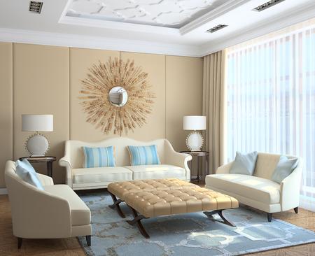 interior render: Modern living-room interior. 3d render.
