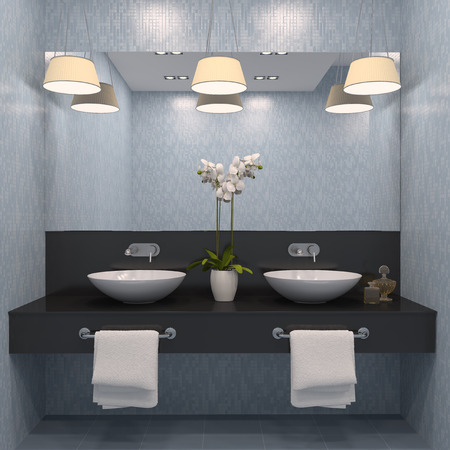 bathroom: Modern bathroom interior. 3d render.
