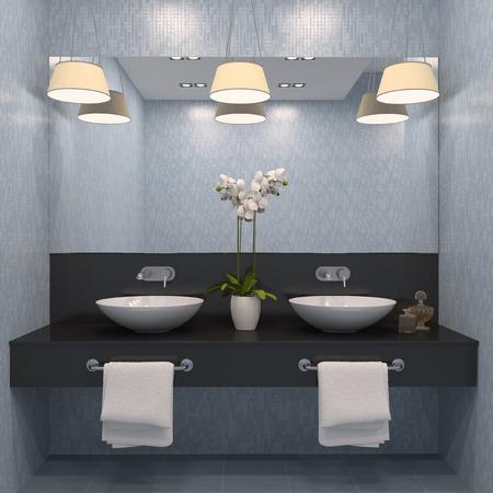 bathroom: Moderno baño interior. 3d.