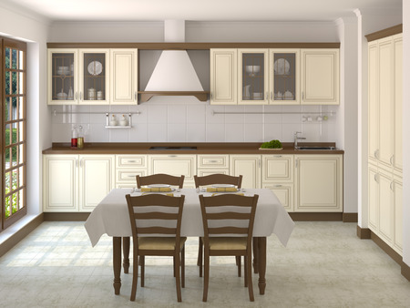 Classic white kitchen in modern house photo