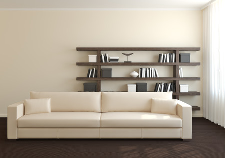 contemporary living room: Modern interior of living-room. 3d render. Stock Photo