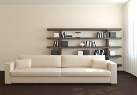 Modernes Interieur des Wohnzimmers. 3D-Darstellung.