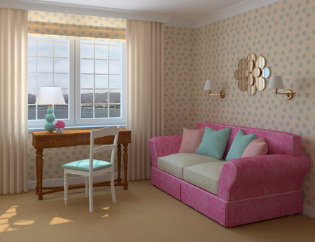 Modern interior of playroom. 3d render. Photo behind the window was made by me. photo