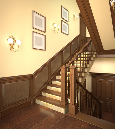 stairs interior: Wood stairs in the modern house. 3d interior.