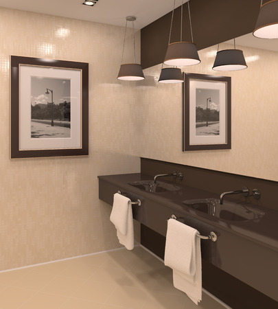 public house: Modern bathroom interior. 3d render. Photo on the wall from Majorca, was made by me. Stock Photo