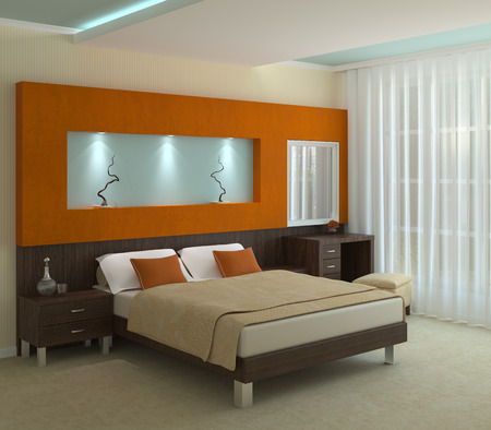 modern bedroom: Modern bedroom interior. 3 render. Stock Photo