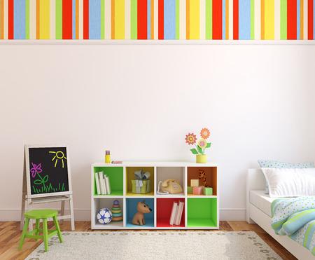 cama: Sala de juegos interior colorido. 3d. Foto de archivo