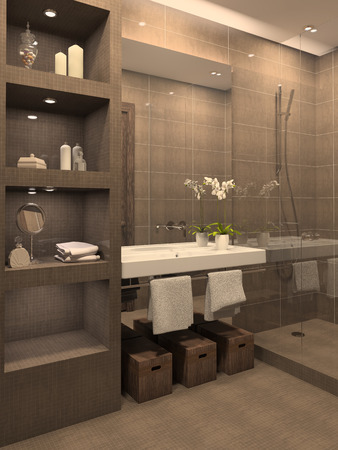 case moderne: Moderno bagno interno. Rendering 3D. Archivio Fotografico