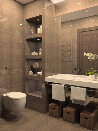 Modern bathroom interior. 3d render.