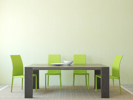 diningroom: Modern diningroom interior. Minimalism. 3d render. Stock Photo