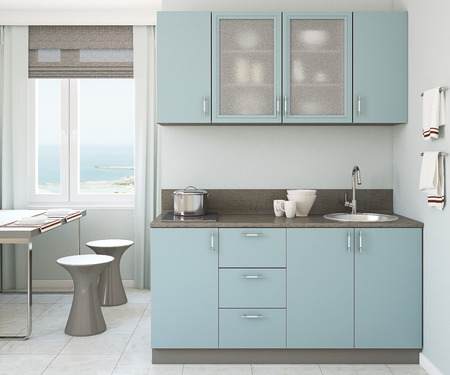 nobody: Modern small blue kitchen 3d render. Stock Photo