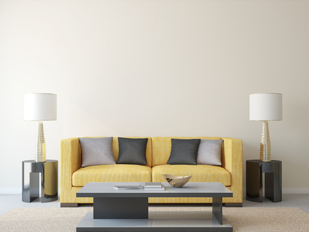 home furniture: Modern livingroom with yellow couch. 3d render.