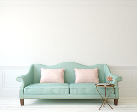 Interior romántica con sofá azul cerca de la pared blanca vacía. 3d.