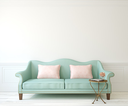azul turqueza: Interior rom�ntica con sof� azul cerca de la pared blanca vac�a. 3d.