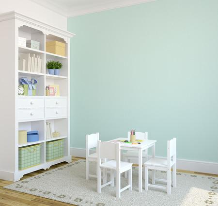 blue turquoise: Sala de juegos interior colorido. 3d. P