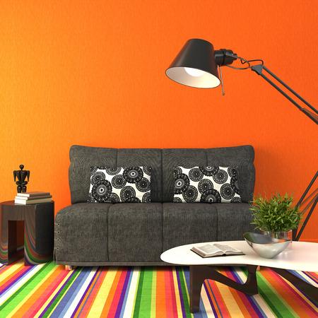 Moderne Wohnzimmer Innenraum. 3D-Darstellung. Standard-Bild