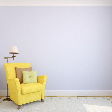 école maternelle: Intérieur moderne avec fauteuil jaune près de rendre bleu wall.3d vide.