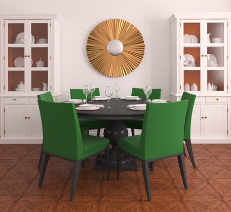 diningroom: Interior of diningroom. 3d render. Stock Photo