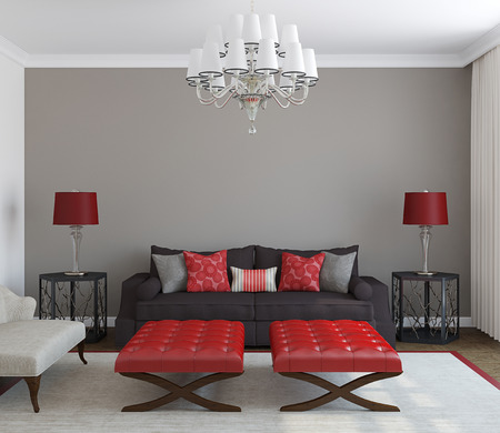 Modern living-room interior. Frontal view. 3d render.