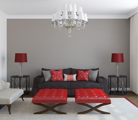 Modern living-room interior. Frontal view. 3d render.