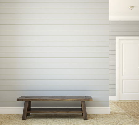 Hallway with bench near empty gray wall. 3d render. 스톡 콘텐츠