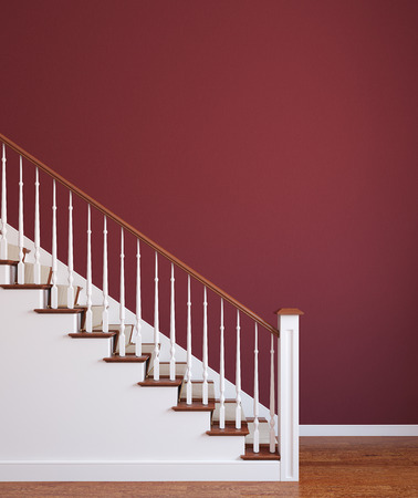 banisters: Classic stairway. 3d render.