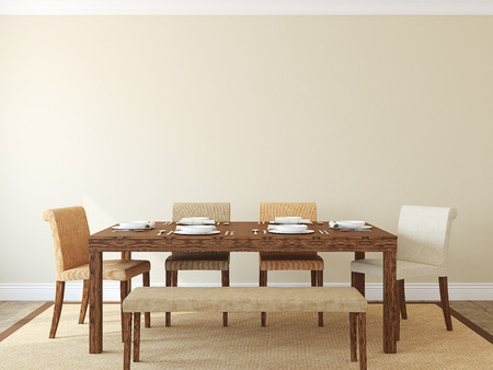 Modern dining-room interior.3d render.