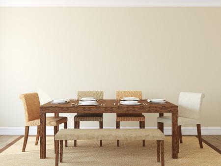 decoracion mesas: Moderno comedor interior.3D render.