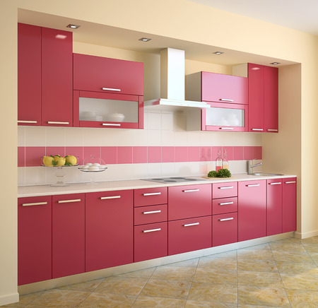 Modern red kitchen. 3d render. Stock Photo
