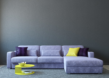 couch: Modern living-room interior with couch near empty gray wall. 3d render. Photo on book cover was made by me.