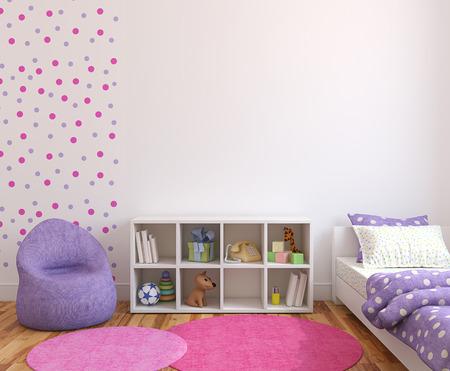 chambre à coucher: Intérieure salle de jeux colorée. 3d render.