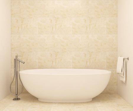 현대적인 욕실의 인테리어. 3d 렌더링입니다. 프레임에 사진에 날에 의해 만들어진.