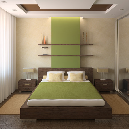 Modern bedroom interior. 3d render.