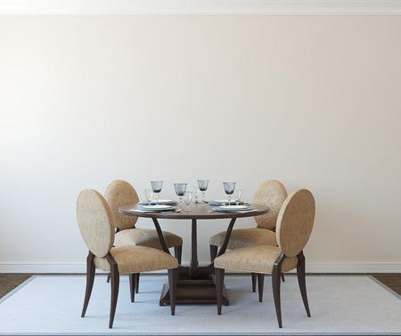 wall decoration: Modern diningroom interior.3d render. Stock Photo