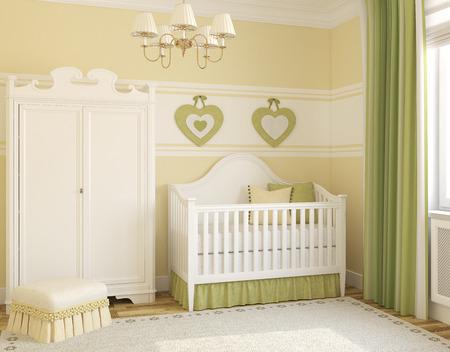 nursery: Interior del cuarto de niños acogedor. 3d.