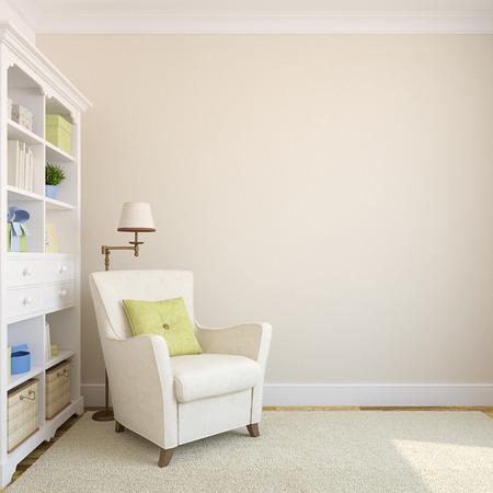 silla: Interior moderno con estanter�a y sill�n cerca wall.3d vac�o amarillento render.