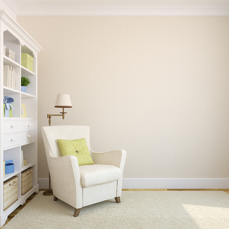 baby on chair: Modern interior with bookcase and armchair near beige empty wall.3d render.