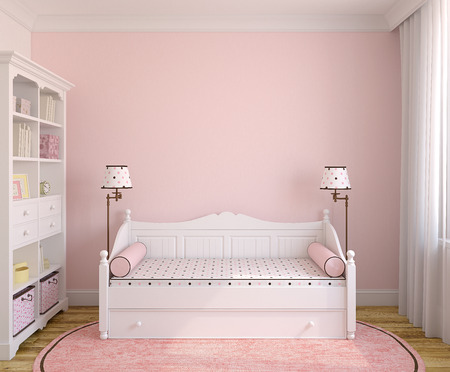 rendering: Interior of toddler room with white furniture and pink wall. Frontal view. 3d render.