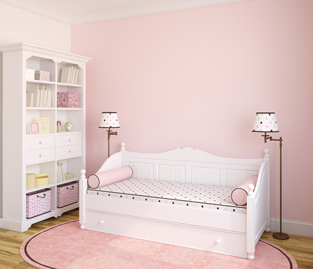Interior of toddler room with white furniture and pink wall. 3d render.