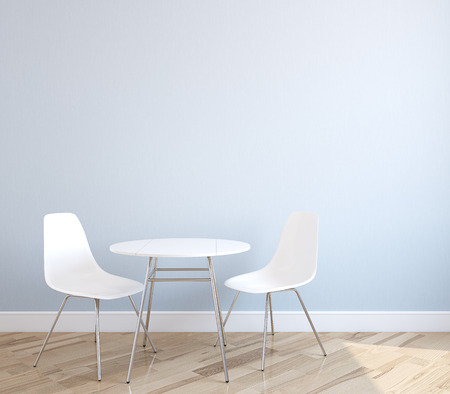 chairs: Interior with table and two white chairs near empty blue wall. 3d render.
