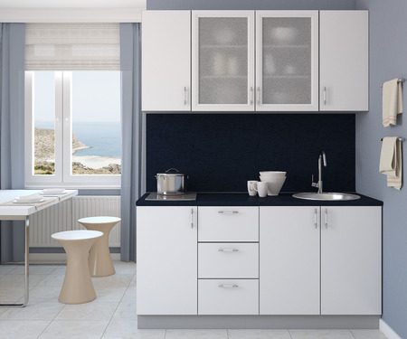 Modern small white kitchen. 3d render. Photo behind the window was made by me.