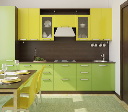 small house: Modern green and yellow  kitchen. 3d render. Stock Photo