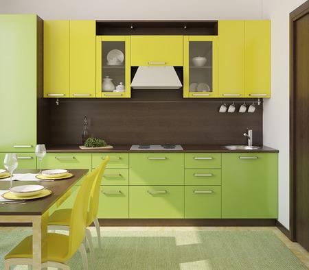 Vert cuisine moderne et jaune. 3d render. Banque d'images