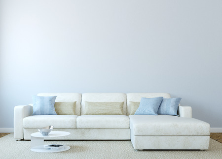 contemporary interior: Modern living-room interior with white couch near empty blue wall. 3d render. Photo on book cover was made by me.