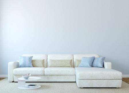 case moderne: Modern living-sala interna con divano bianco vicino alla parete blu vuoto. Rendering 3D. Foto sulla copertina del libro è stata fatta da me. Archivio Fotografico