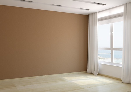 Interior of empty room. 3d render. Photo behind the window was made by me.